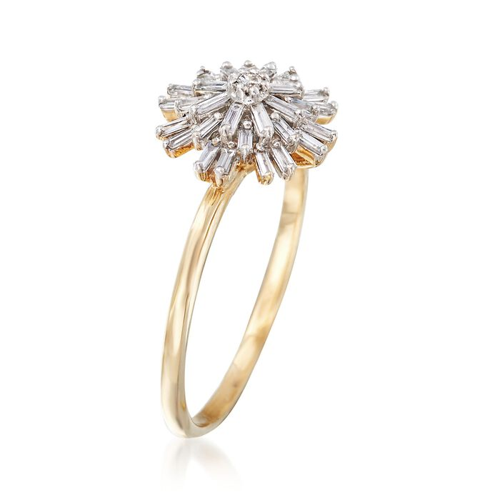 .22 ct. t.w. Baguette Diamond Starburst Ring in 14kt Yellow Gold