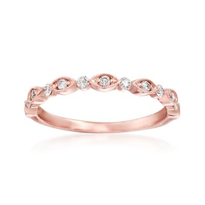 Henri Daussi .20 ct. t.w. Diamond Wedding Ring in 14kt Rose Gold, , default