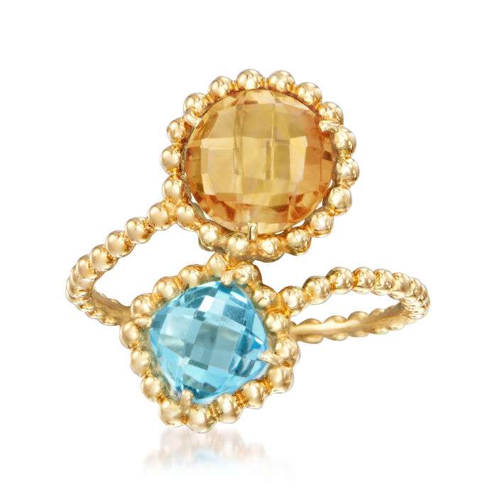 1.70 Carat Citrine and 1.10 Carat Blue Topaz Ring in 14kt Yellow Gold, , default