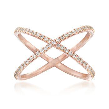 Henri Daussi .28 ct. t.w. Diamond Crisscross Ring in 18kt Rose Gold