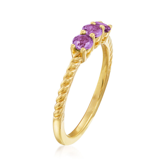 .20 ct. t.w. Amethyst Three-Stone Pinky Ring in 18kt Gold Over Sterling