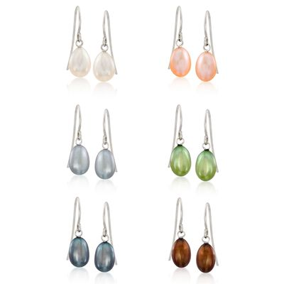 6-6.5mm Multicolored Cultured Pearl Jewelry Set: Six Pairs of Earrings in Sterling Silver, , default