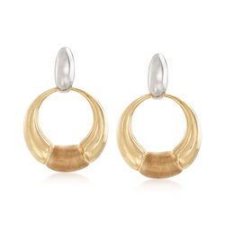 Italian 14kt Two-Tone Gold Open Circle Clip-On Drop Earrings, , default