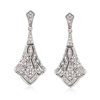 .33 ct. t.w. Diamond Deco-Style Drop Earrings in Sterling Silver, , default