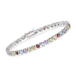"""4.20 ct. t.w. Multi-Stone Tennis Bracelet in Sterling Silver. 7.25"""", , default"""