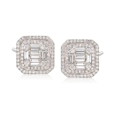 2.25 ct. t.w. Diamond Mosaic Earrings in 18kt White Gold, , default