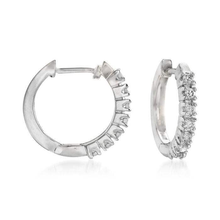 .24 ct. t.w. Diamond Huggie Hoop Earrings in 14kt White Gold