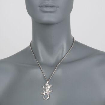 "Sterling Silver Lizard Drop Necklace. 18"", , default"