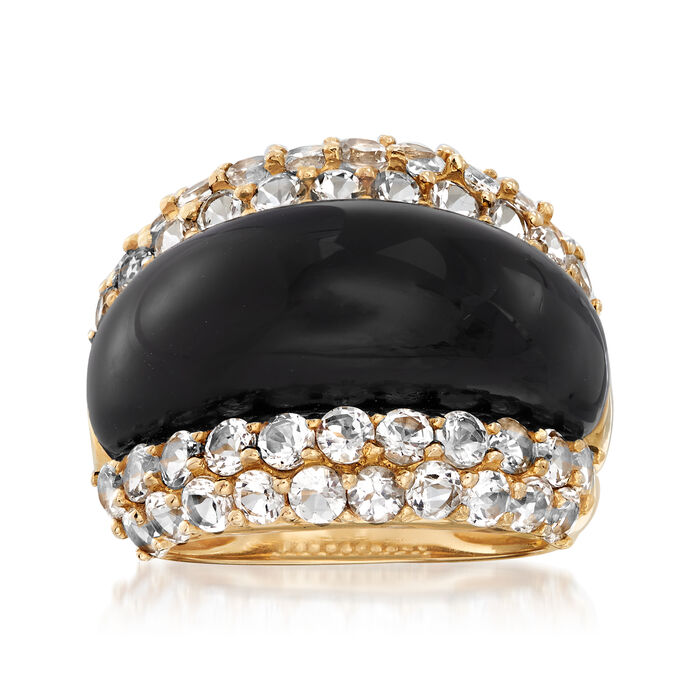 C. 2000 Vintage Black Onyx and 2.50 ct. t.w. White Topaz Ring in 14kt Yellow Gold. Size 7, , default