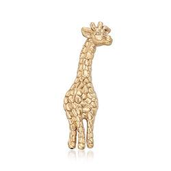 14kt Yellow Gold Textured Giraffe Pin, , default