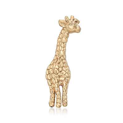 14kt Yellow Gold Textured Giraffe Pin, , default