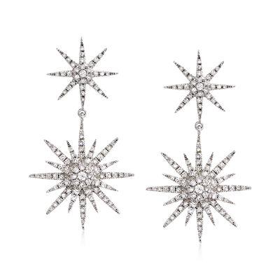 .94 ct. t.w. Diamond Starburst Drop Earrings in 14kt White Gold, , default