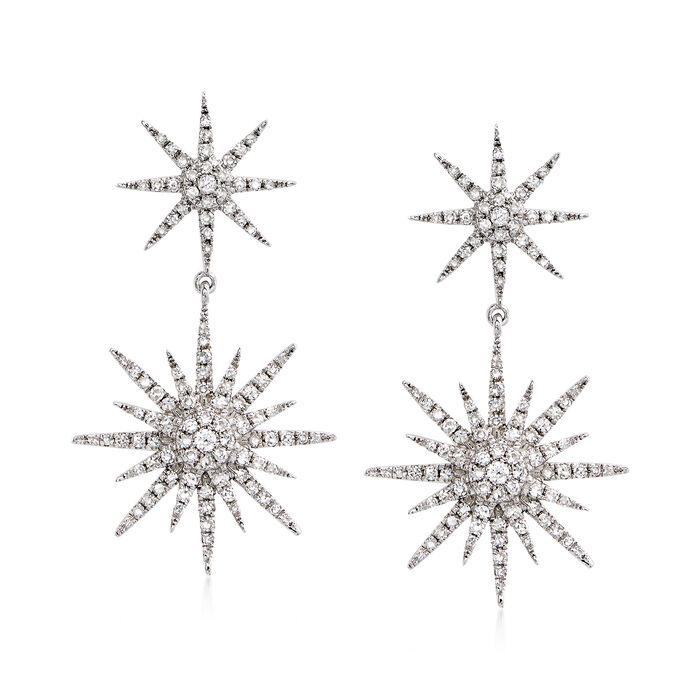 """.94 ct. t.w. Diamond Starburst Drop Earrings in 14kt White Gold. 1 1/8"""", , default"""