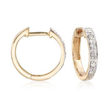"""Diamond Accent Huggie Hoop Earrings in 14kt Yellow Gold. 3/8"""", , default"""