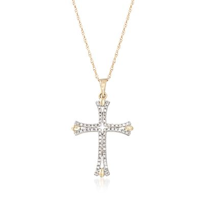 .12 ct. t.w. Diamond Cross Pendant Necklace in 14kt Yellow Gold, , default