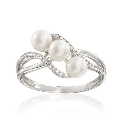 4.5-5mm Cultured Pearl Wave Ring with .10 ct. t.w. Diamonds in 14kt White Gold, , default