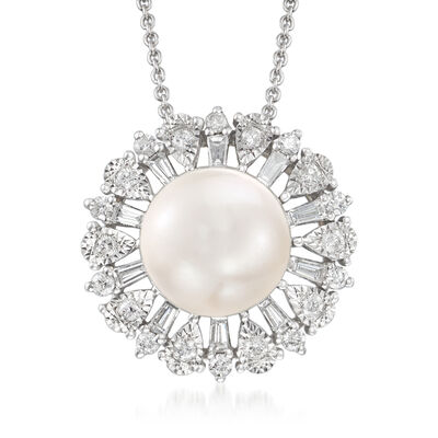 9-10mm Cultured South Sea Pearl and .50 ct. t.w. Diamond Pendant Necklace in 18kt White Gold, , default