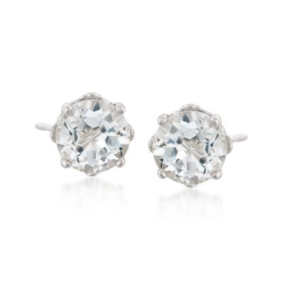 1.10 ct. t.w. Round White Topaz Stud Earrings with Teacup Settings in Sterling Silver, , default