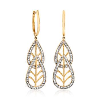 C. 1980 Vintage 1.25 ct. t.w. Diamond Double- Teardrop Earrings in 14kt Yellow Gold, , default