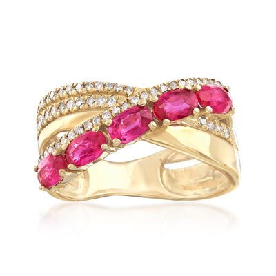 1.50 ct. t.w. Ruby and .27 ct. t.w. Diamond Crisscross Ring in 14kt Yellow Gold, , default