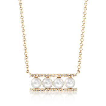 """3.5mm Cultured Pearl and .10 ct. t.w. Diamond Bar Necklace in 14kt Yellow Gold. 18"""", , default"""