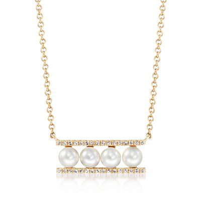 3.5mm Cultured Pearl and .10 ct. t.w. Diamond Bar Necklace in 14kt Yellow Gold, , default