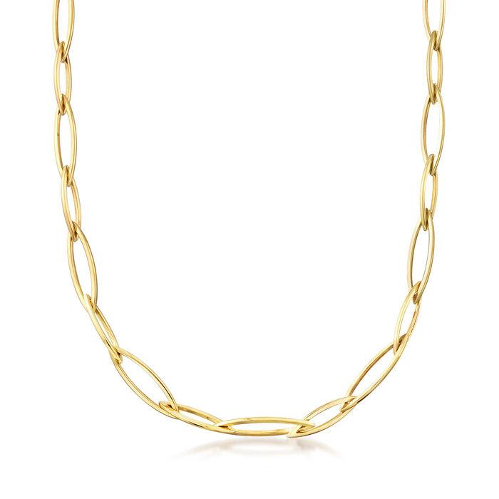 "C. 1990 Vintage 14kt Yellow Gold Long Link Necklace. 26.5"", , default"
