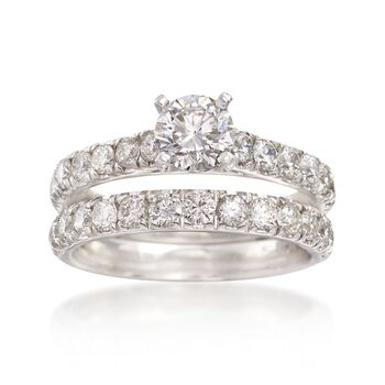 2.00 ct. t.w. Diamond Bridal Set: Engagement and Weddings Rings in 14kt White Gold, , default