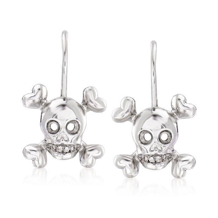 C. 1990 Vintage Christian Dior Diamond-Accented Skull Drop Earrings in 18kt White Gold