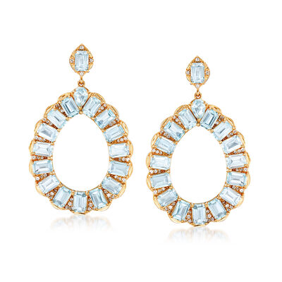 21.10 ct. t.w. Sky Blue Topaz and 1.40 ct. t.w. White Topaz Open Teardrop Earrings in 18kt Gold Over Sterling, , default