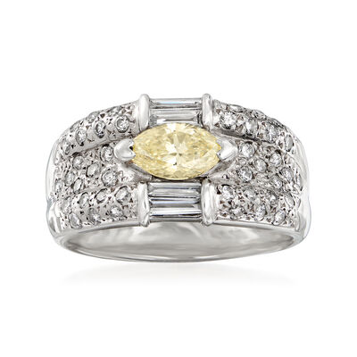 C. 1980 Vintage 1.24 ct. t.w. Yellow and White Diamond Ring in Platinum