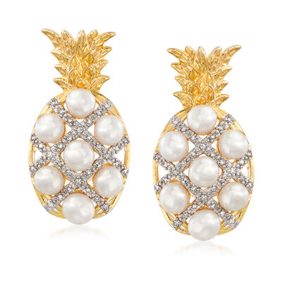 3-3.5mm Cultured Pearl and .15 ct. t.w. Diamond Pineapple Earrings in 18kt Gold Over Sterling, , default