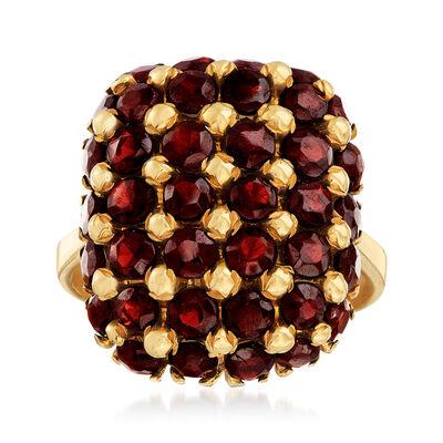 C. 1970 Vintage 4.50 ct. t.w. Garnet Grid Ring in 18kt Yellow Gold, , default