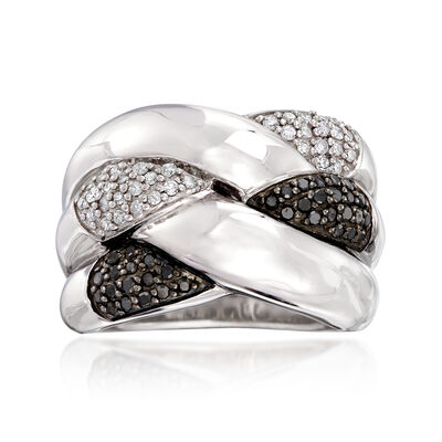 .50 ct. t.w. Black and White Diamond Crisscross Ring in Sterling Silver