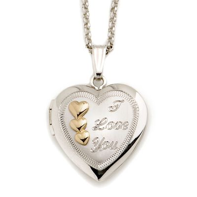 "Sterling Silver and 14kt Yellow Gold ""I Love You"" Heart Locket Necklace, , default"