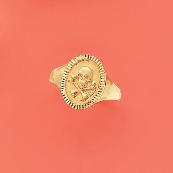 14kt Yellow Gold Skull and Bones Signet Ring, , default
