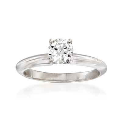 C. 2000 Vintage .55 Carat Certified Diamond Solitaire Ring in 14kt White Gold, , default