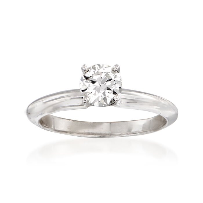 C. 2000 Vintage .55 Carat Certified Diamond Solitaire Ring in 14kt White Gold. Size 7, , default