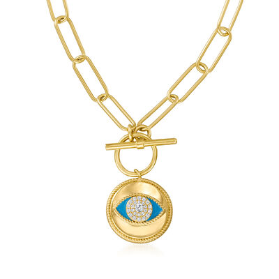 .20 ct. t.w. White Topaz and Enamel Evil Eye Necklace in 18kt Gold Over Sterling