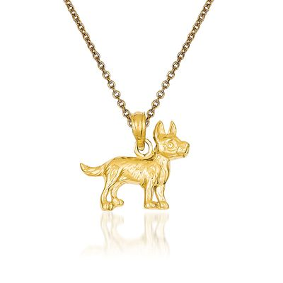 14kt Yellow Gold Terrier Dog Pendant Necklace, , default