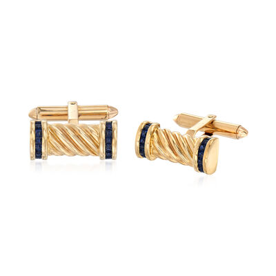 C. 1970 Vintage Men's 1.60 ct. t.w. Sapphire Cuff Links in 14kt Yellow Gold, , default