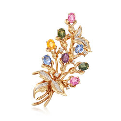 C. 1980 Vintage 5.20 ct. t.w. Multicolored Sapphire and .30 ct. t.w. Diamond Floral Pin in 14kt Yellow Gold, , default