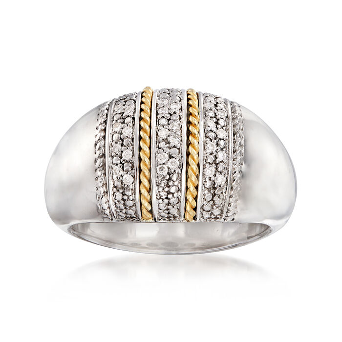 .11 ct. t.w. Diamond Multi-Row Ring in Sterling Silver and 14kt Yellow Gold