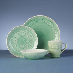 Fez Mint Green Stoneware 16-pc. Service for 4 Dinnerware Set, , default