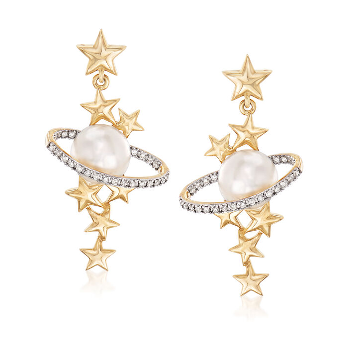 Cultured Pearl and .15 ct. t.w. Diamond Star and Planet Drop Earrings in 14kt Yellow Gold, , default