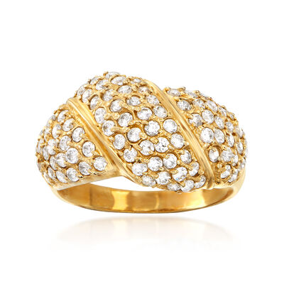 C. 1990 Vintage 1.90 ct. t.w. CZ Dome Ring in 14kt Yellow Gold, , default