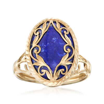 Lapis Scroll Ring in 14kt Yellow Gold, , default