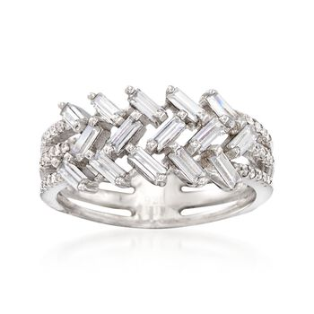 1.00 ct. t.w. Baguette and Round CZ Ring in Sterling Silver, , default