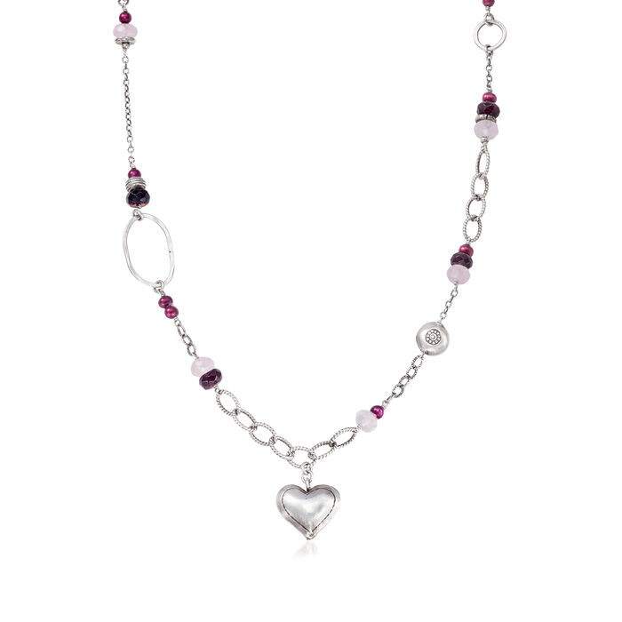 """C. 1990 Vintage 4mm Cultured Pearl Heart Necklace with Rose Quartz and Garnet Beads in Sterling Silver. 16.5"""", , default"""