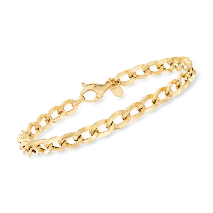 Italian Curb-Link Bracelet in 18kt Yellow Gold, , default